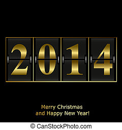 New Year counter in gold design Vector eps10 illustration