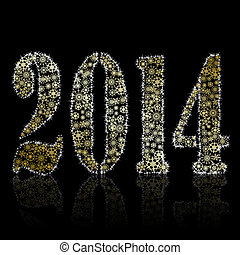 New 2014 year symbol on black backround Christmas greeting...