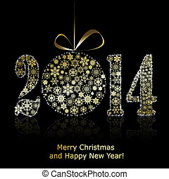 New 2014 year symbol on black backround. Christmas greeting card. Vector eps10 illustration