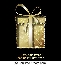 Modern Xmas greeting card with golden Christmas gift box....