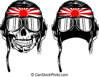 skull kamikaze in helmet - Vector illustration of skull of...
