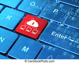 Protection concept: Cloud Network on computer keyboard background