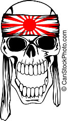 skull kamikaze - Vector illustration of skull of kamikaze...