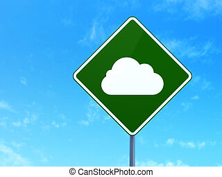 Cloud technology concept: Cloud on road sign background -...