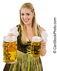 Happy blond serving beer during Oktoberfest - Photo of a...