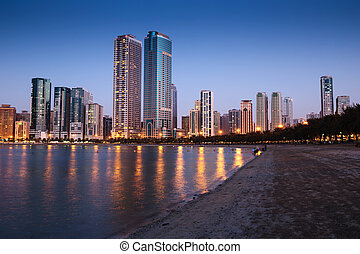 Night view of Sharjah UAE - SHARJAH, UAE - NOVEMBER 01:...