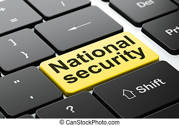 Protection concept: National Security on computer keyboard background