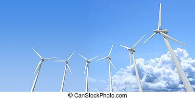 Wind Turbines Blue Sky