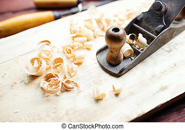 Hand jack plane and wood chips
