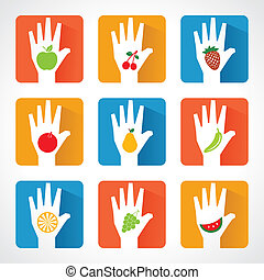 Fruit icons with helping hands