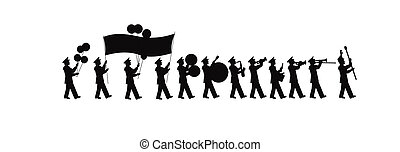 large marching band silhouete - parade band silhouette