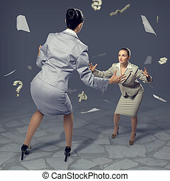 two businesswomen fighting as sumoists, the concept of...