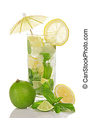 Glass of cold mojito, is decorated with umbrella
