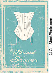 bridal shower vintage invitation, illustration vector format