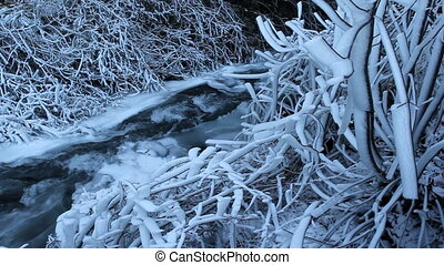 Water Flowing along Frozen Creek or Stream on the base of...