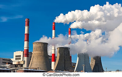 Air pollution - Industrial smoke rising from Power Station...