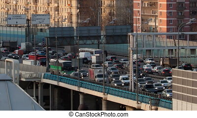 Time lapse traffic congestion on an urban flyover during...