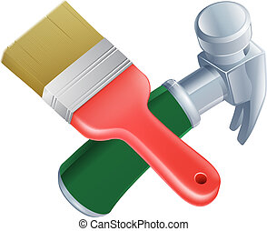 Crossed paintbrush and hammer tools icon of cartoon tools...