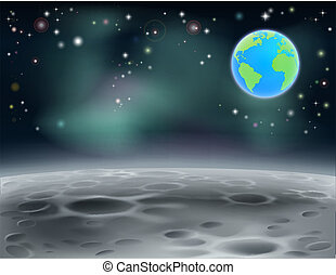 Moon space earth background 2013 C5 - Moon surface landscape...