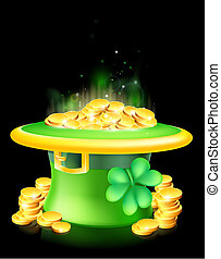 Leprechaun hat full of gold - Cartoon green St Patrick's Day...