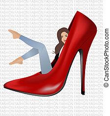 menina, vermelho, sapato