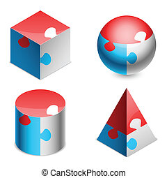 Puzzle figures. - Geometric figures made of color puzzle...