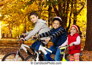 Bike ride in autumn park