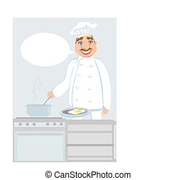 smiling chef cooks soup