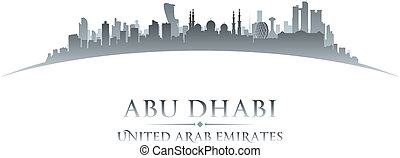 Abu Dhabi UAE city skyline silhouette white background - Abu...