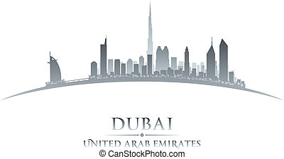 Dubai UAE city skyline silhouette white background - Dubai...