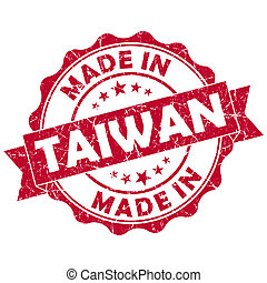 made in Taiwan red grunge seal
