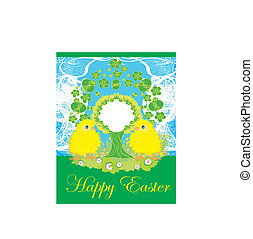 cute chickens and Easter tree frame