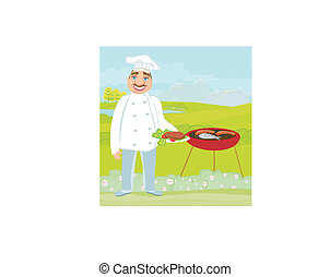 smiling chef grills meat