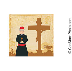priest prays by the cross, grunge background
