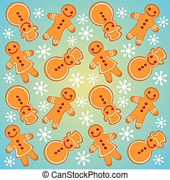 gingerbread background - Gingerbread cookies on a blue...