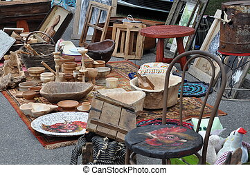 Flea market with old items - Flea market with old wooden...
