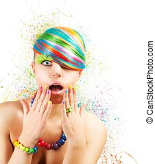 Colorful fashion explosion - Colorful fashion makeup with...