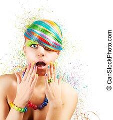colorido, Moda, explosión