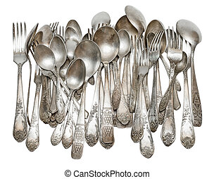 Silver cutlery - Aged vintage silver cutlery forks, spoons...