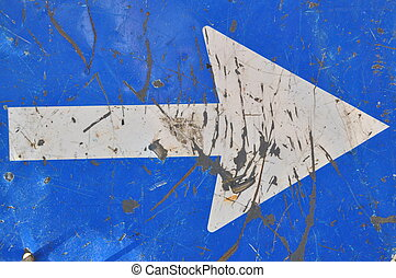 Roadworks, road sign, white arrow on blue background