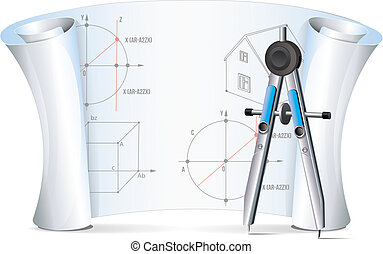 Drafting Compass With Plan