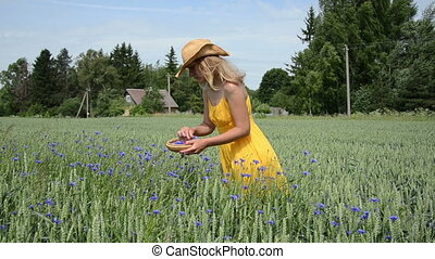 girl gather herb blooms - Blond farm girl in yellow dress...