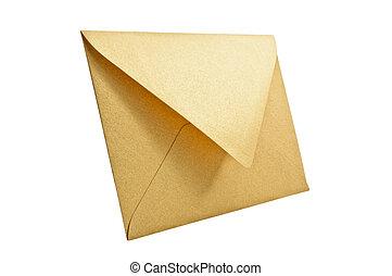 Golden envelope. - Golden envelope on white background,...
