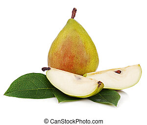 Ripe pear with cut and green leaves isolated on white background. Closeup.