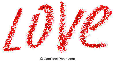 Word LOVE is written with lipstick Isolated on white...
