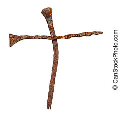 Rusty nails in shape of cross