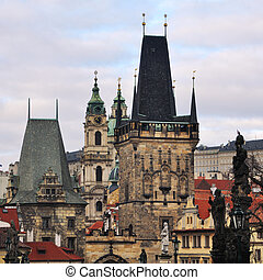 Charles Bridge in Prague, Czech Republic - View of the...