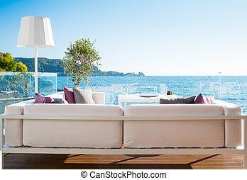 Restaurant interior with scenic sea view - Modern restaurant...