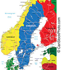 Sweden map - Highly detailed vector map of Sweden with...
