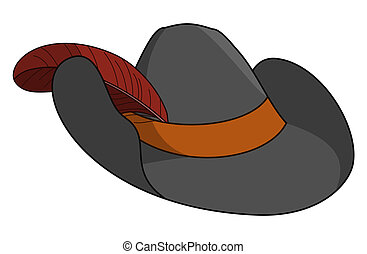 Robbers hat - Black robbers hat with the bent edges, brown...
